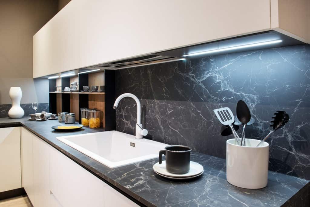 black marble kitchen counter backsplash
